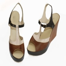 100% Italian Leather Wedge Sandals-Brown
