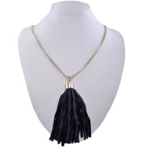 Chain Necklace with Leather Tassel | Black & Gold