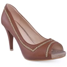 Tania Open Toe Pumps | Brown