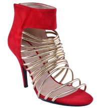 Caged Sandal With Back Zipper | Red