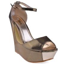 Open Toe Cut Out Wedge | Gold