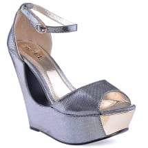 Open Toe Cut Out Wedge | Grey