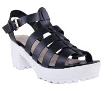 Chunky Cleated Strappy Sandals | Black