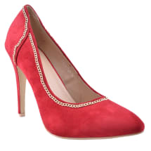 Pointed Court Shoes with Chain Detail -Red