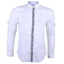 Men's Long Sleeve Casual Linen Shirt - Off White