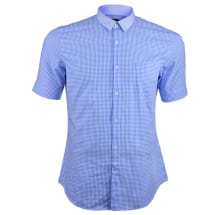 Men's Checked Button Down Short Sleeve Casual Shirt -Blue