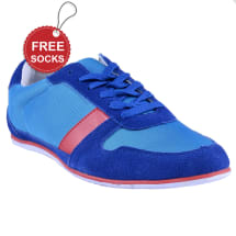 Men's Contrast Suede Low Top Sneakers | Blue & Red
