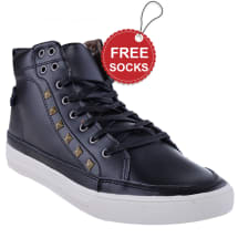 Leather Ankle Length lace-up Plimsoll | Black