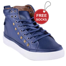 Leather Ankle Length lace-up Plimsoll | Blue