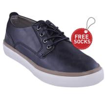 Men's Leather Low Lace-up Plimsoll | Black