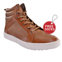 Contrast Leather Hi-top Lace Plimsoll | Brown