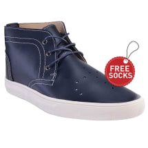Leather Stitch Ankle Length Lace Plimsoll | Blue