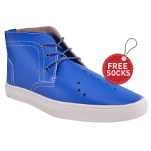 Leather Stitch Ankle Length Lace Plimsoll | Sky Blue