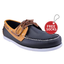 Men's Contrast Sole Boat Shoes| Navy & Yellow