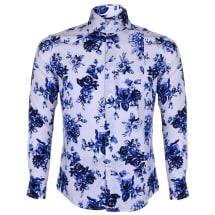 Men's Floral Long Sleeve Button Down Shirt | White & Blue