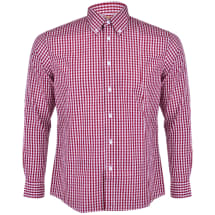 Men's Gingham Checked Button Down Long Sleeve Shirt | Red & White