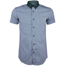 Checked Short Sleeve Shirt with Shoulder Flap | Green
