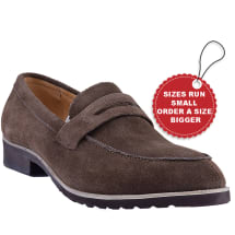 Strap Suede Penny Loafer Shoes | Brown