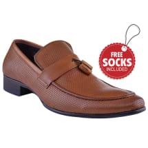Leather Strap Tassel Slip-on Loafer | Brown