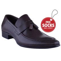 Leather Strap Tassel Slip-on Loafer | Coffee