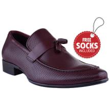 Leather Strap Tassel Slip-on Loafer | Burgundy