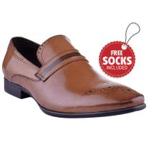 Leather Contrast Band Slip-on Formal Loafer | Brown