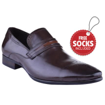 Leather Contrast Band Slip-on Formal Loafer | Coffee
