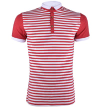 Striped Contrast Men's Polo Shirt | Red