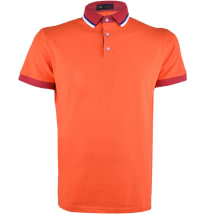 Contrast Neck Short Sleeve Polo Shirt | Orange