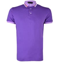 Contrast Neck Short Sleeve Polo Shirt | Purple