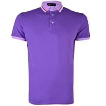 Contrast Neck Short Sleeve Polo Shirt | Purple