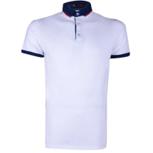 Contrast Neck Short Sleeve Polo Shirt | White