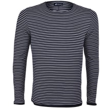 Striped Round Neck Long-sleeve T-shirt | Black & White
