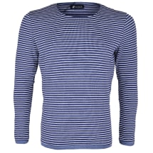 Striped Round Neck Long-sleeve T-shirt | Navy & White