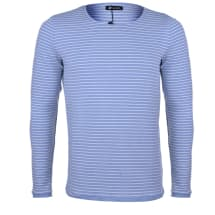 Striped Round Neck Long-sleeve T-shirt | Light Blue & White