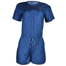 Stacey Short Sleeve Playsuit - Blue