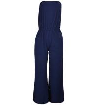 Strapless Wide Leg Jumpsuit - Navy