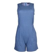 Sleeveless Polka Dot Playsuit - Light Blue