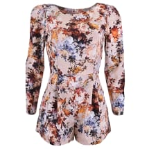 Long Sleeve Floral Playsuit - Multicolor