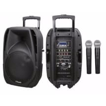 15-Inch Rechargeable Bluetooth PA System with Wireless Microphone, Radio & SD/USB Slots