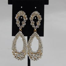 2 step Drop Earrings with Gold Base - White