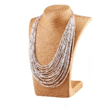 20 Layers Hand Woven Statement Necklace - White