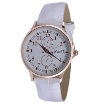 Watch with Crocodile Strap - Rose Gold & White