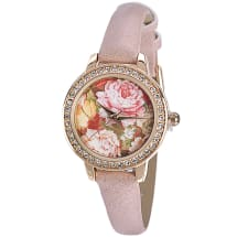 Flower Power Watch with Diamantes - Blush