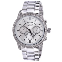 Embellished Chrono Stainless Steel Watch - Silver