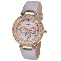 Striking Gold Diamante Watch with Leather Strap - Grey