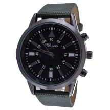Black Minute Track Watch With Khaki Strap