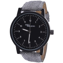 Dogstooth Canvas Strap Watch With Black Dial