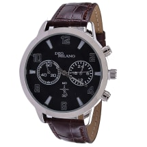 Black & Silver Watch With Brown Crocodile Strap