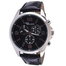 Black & Silver Watch With Black Crocodile Strap